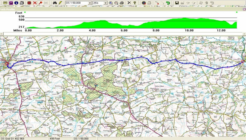 Hatherleigh to Holsworthy route